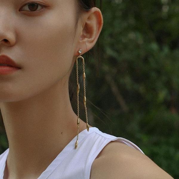 歐美鍍金簡約麥穗長款耳環女時尚氣質流蘇耳線不規則鏈條耳墜耳飾