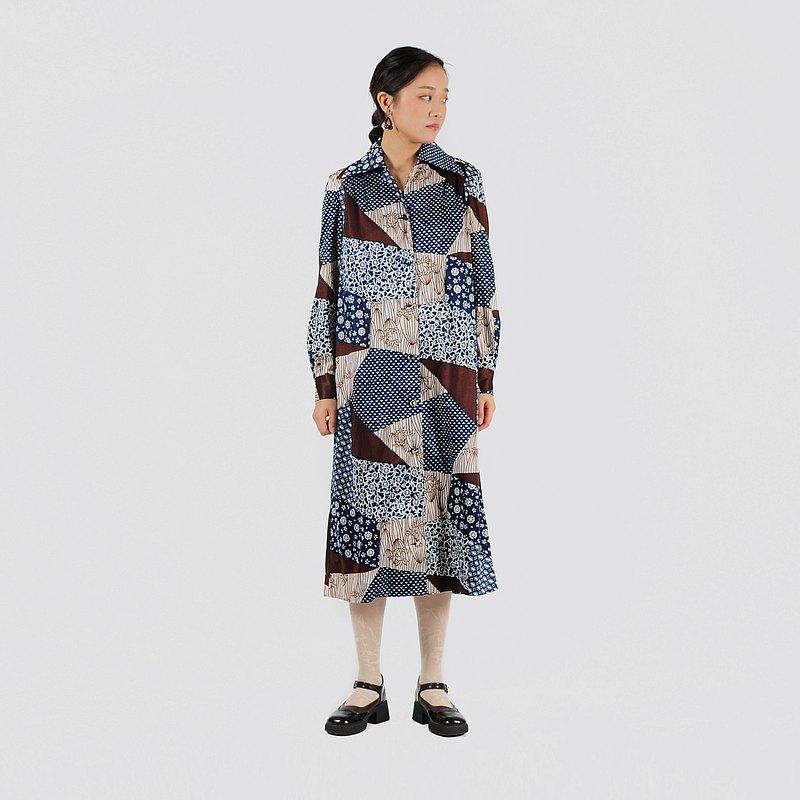 【蛋植物古著】冰晶萬華印花古著洋裝
