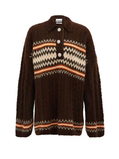 Ganni - Fair Isle Alpaca-blend Sweater - Womens - Brown