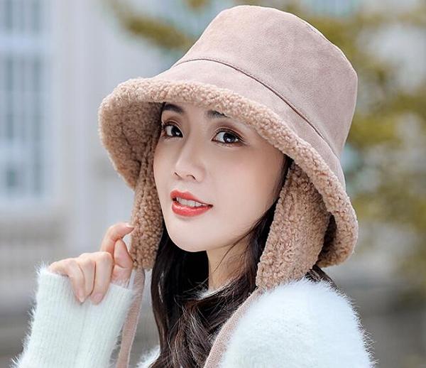 帽子女秋冬季韓版漁夫帽百搭雙面日系羊羔絨盆帽騎車護耳保暖帽潮 南風小鋪