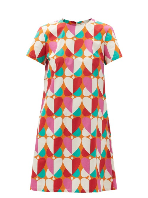La DoubleJ - Mini Swing Farfalle-print Cotton-poplin Dress - Womens - Pink Print