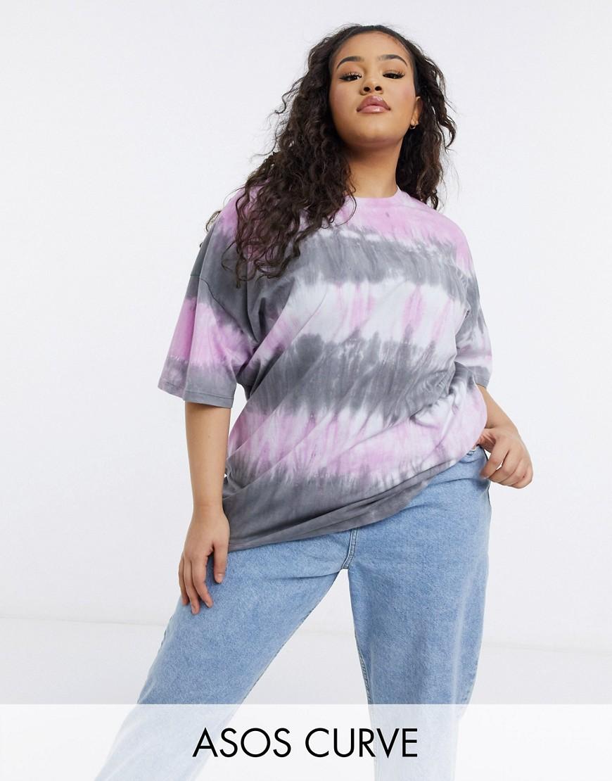 ASOS DESIGN Curve oversized t-shirt in pink tie dye stripe