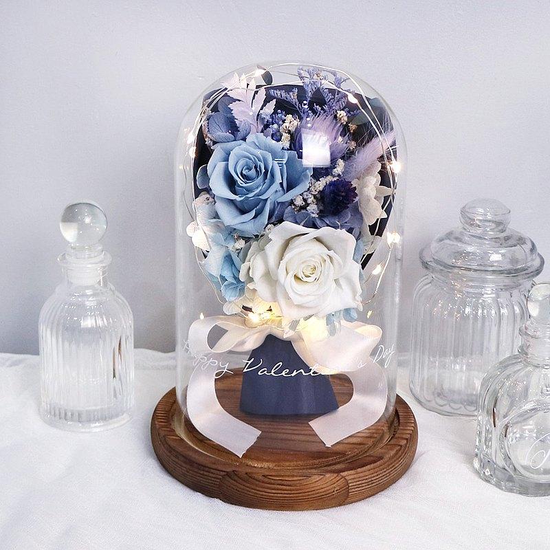 LED玫瑰花束永生花鐘罩 -情人節限定款-莫蘭迪藍