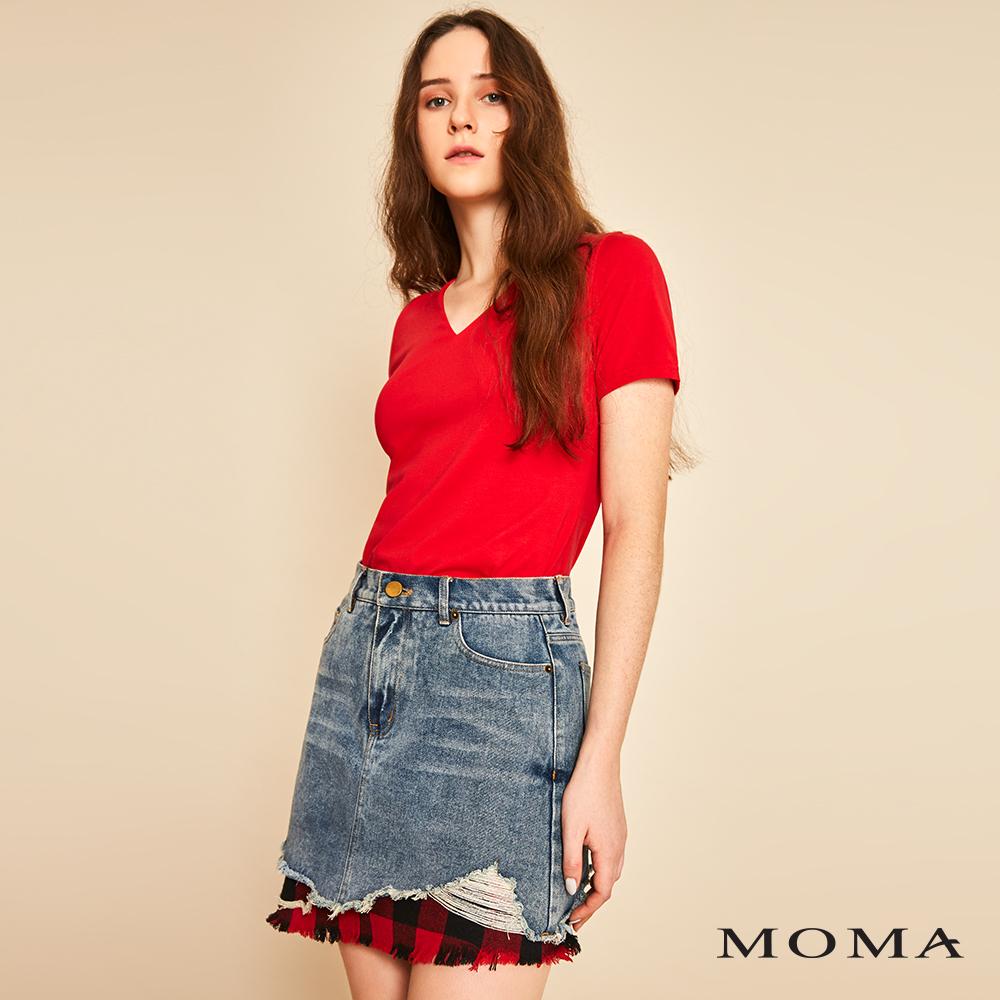MOMA(01S006)格紋拼接牛仔短裙