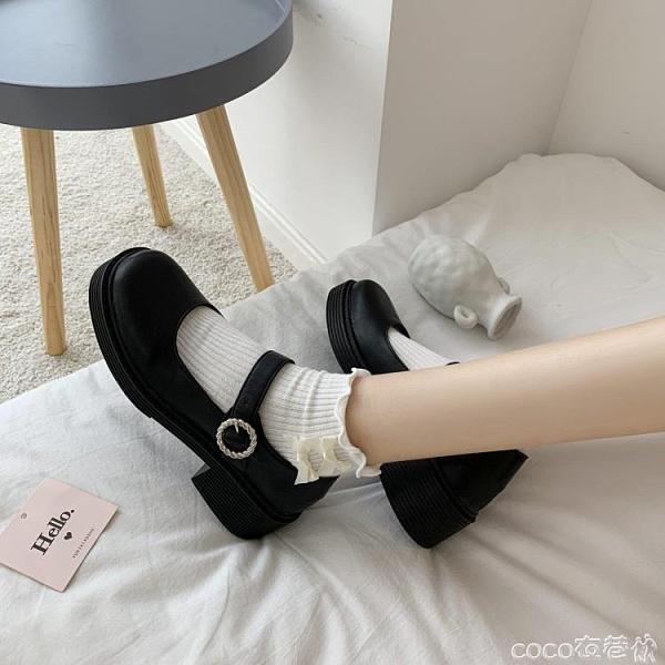 熱賣瑪麗珍鞋 復古小皮鞋女英倫2021秋季新款粗跟方頭學院風黑色瑪麗珍鞋ins潮【618 狂歡】