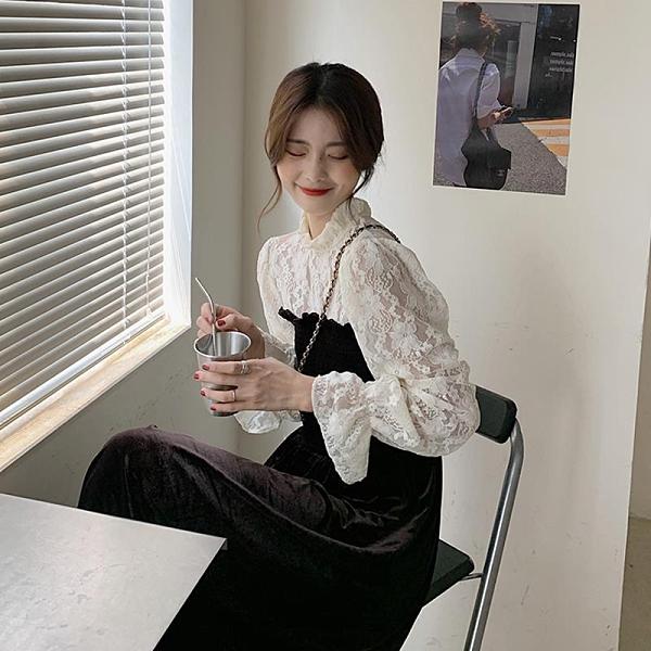 新品熱銷 秋季新款韓版蕾絲拼接假兩件長袖連衣裙女氣質收腰黑色中長裙 大尺碼女裝