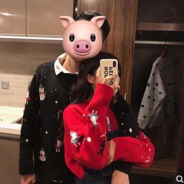 圣誕節紅色毛衣女2020秋冬新款ins超火慵懶風寬松百搭情侶針織衫