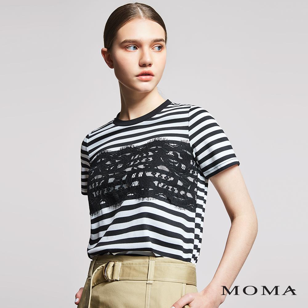 MOMA(01M006)蕾絲條紋T恤
