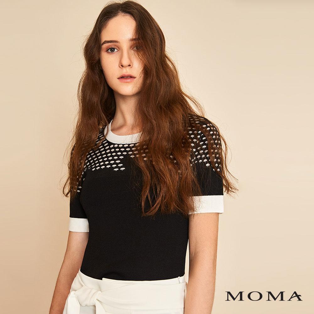 MOMA(01KM04)圓孔織紋針織上衣