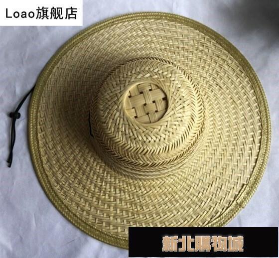 男士釣魚草帽大沿竹編遮陽防曬帽男女采茶務農太陽帽古鎮裝飾帽子