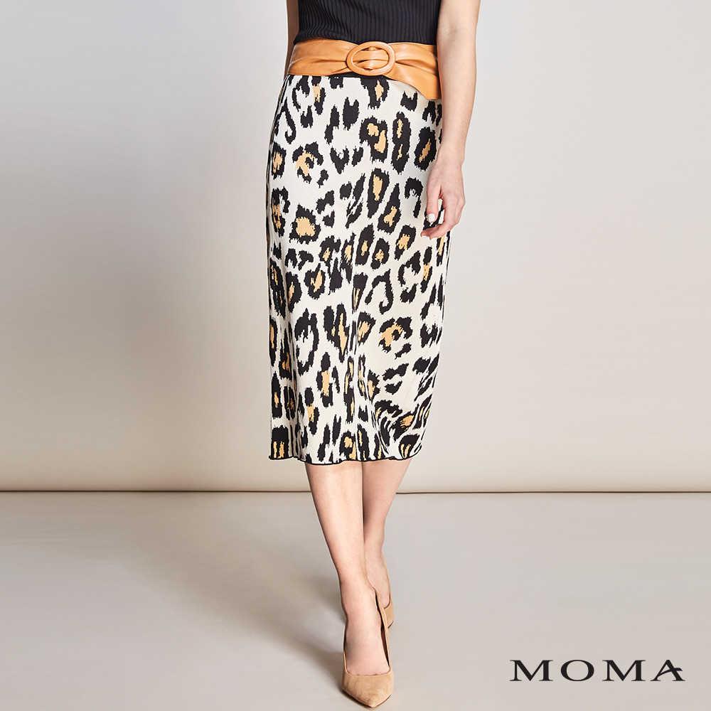 MOMA(01S040)豹紋針織中長裙