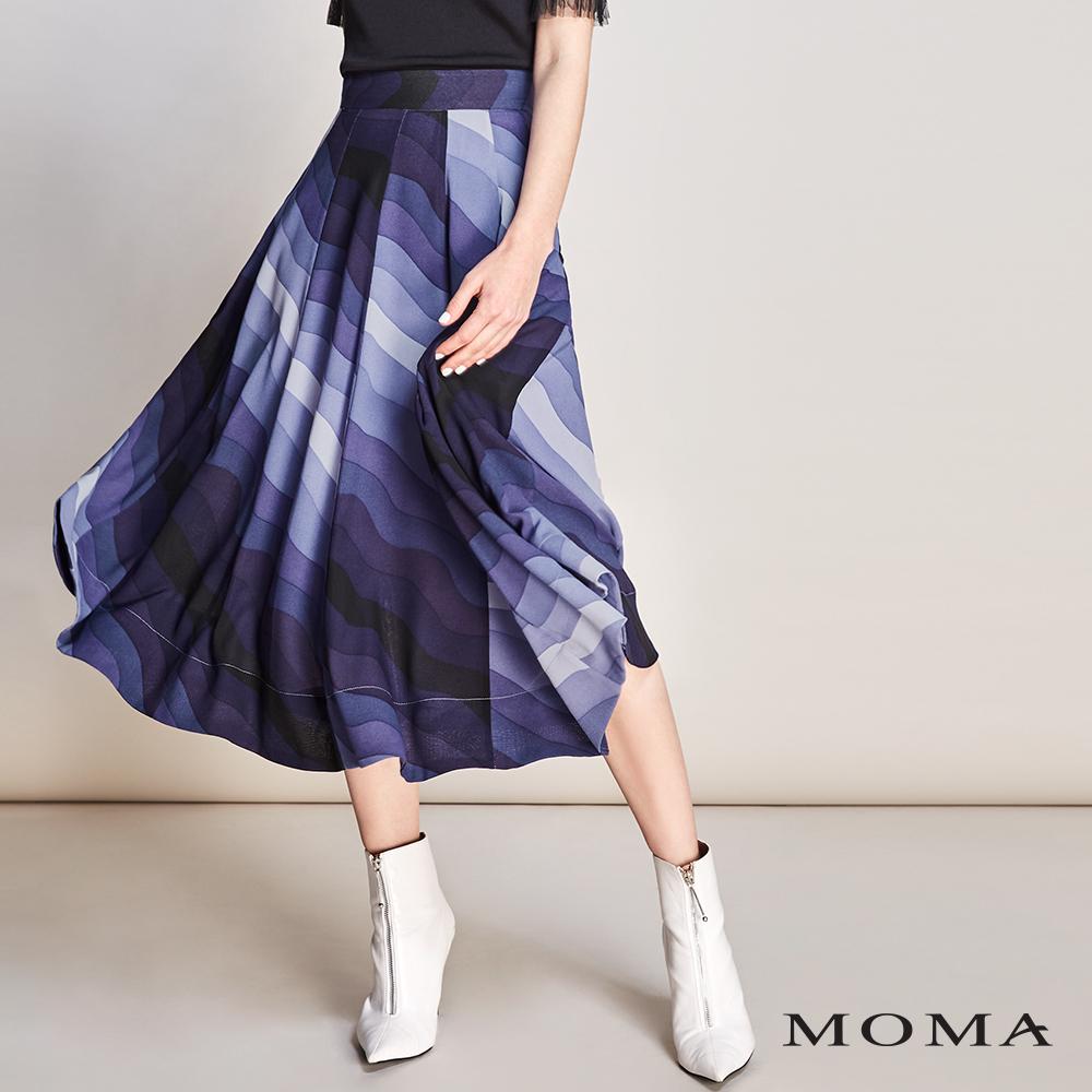 MOMA(01S018)抽象水波印花長圓裙-剩餘34號