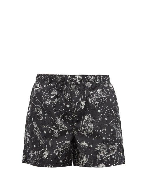 Valentino - Zodiac-print Swim Shorts - Mens - Black