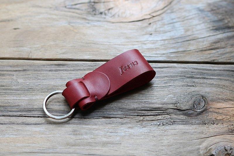 鑰匙圈-暗紅色-可免費壓印英文名字