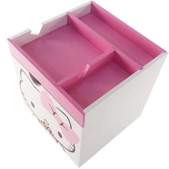 小禮堂 Hello Kitty 木質單抽手機架收納盒 抽屜盒 文具盒 桌上型收納盒 (粉 禮物)
