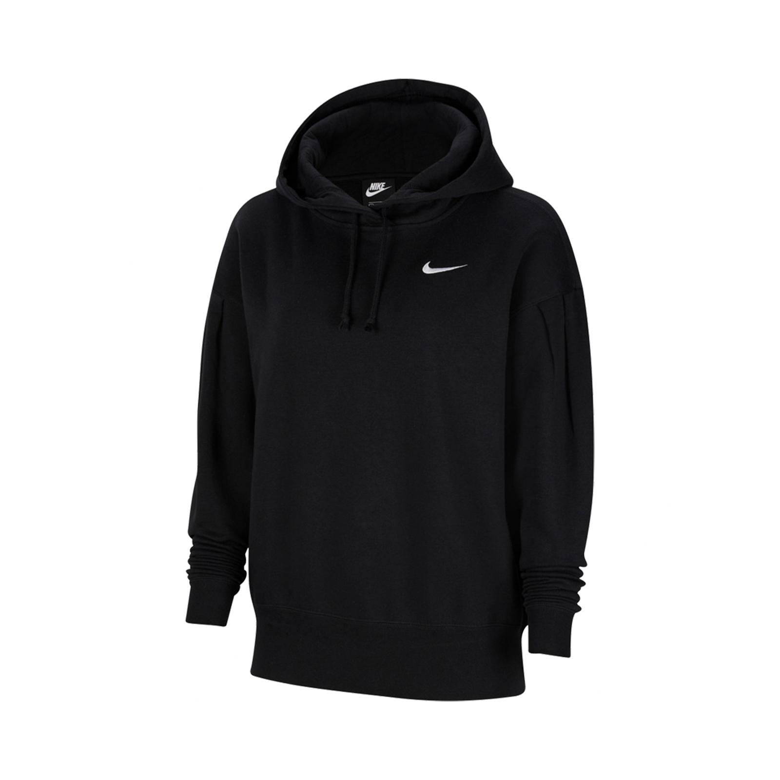 Nike 長袖T恤 NSW Fleece Hoodie 黑 女款 帽T 刷毛 連帽【ACS】 CZ2591-010