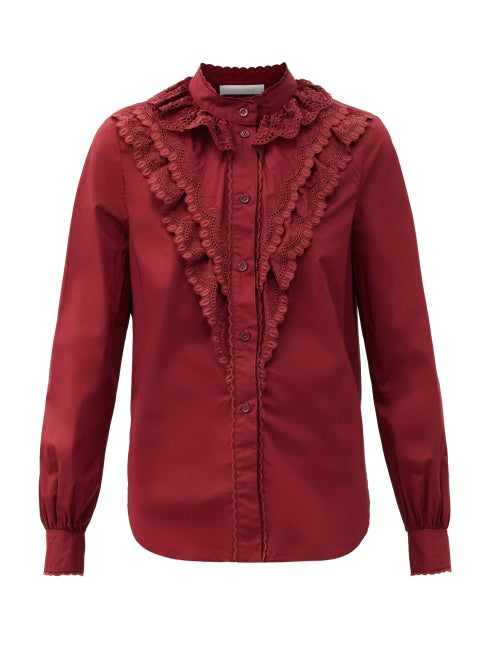 See By Chloé - Ruffled Logo-embroidered Cotton-poplin Blouse - Womens - Burgundy