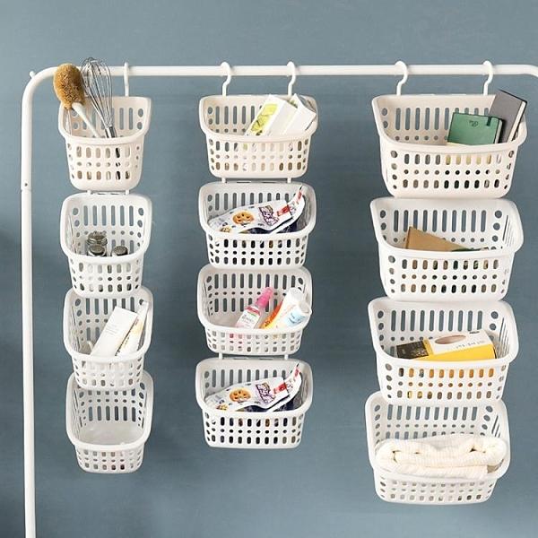 壁掛式塑料收納掛籃廚房零食小籃子衛生間浴室洗澡籃懸掛收納筐 【科炫3c】