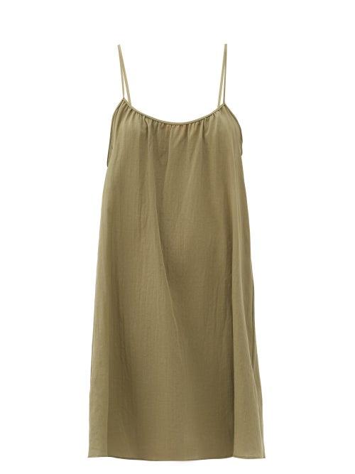 Loup Charmant - Racerback Organic-cotton Mini Dress - Womens - Green