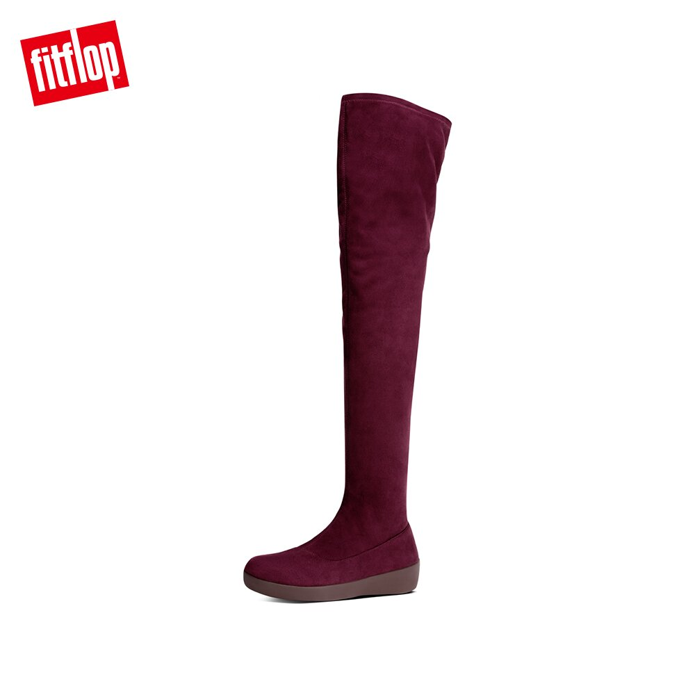【FitFlop】ALICE OVER-THE-KNEE SOCK BOOTS時尚過膝長靴-女(梅紅色)