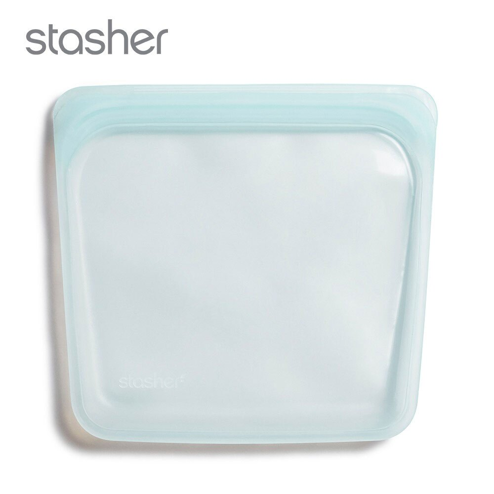 美國 Stasher 白金矽膠密封袋-方形泡泡藍