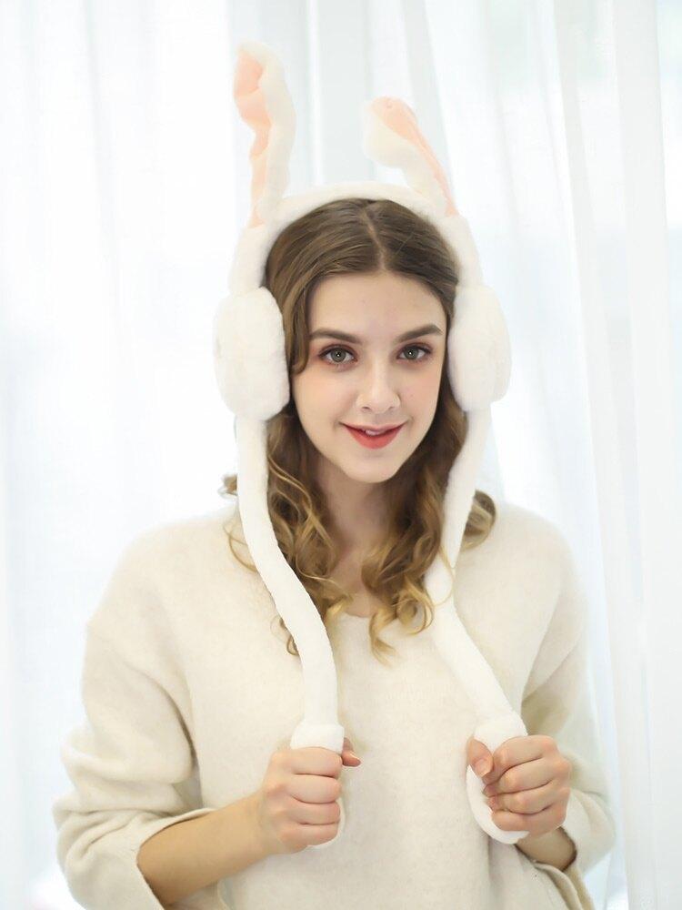 耳罩 保暖可愛會動的兔子耳包朵耳暖捂耳罩女冬天【全館免運 限時鉅惠】