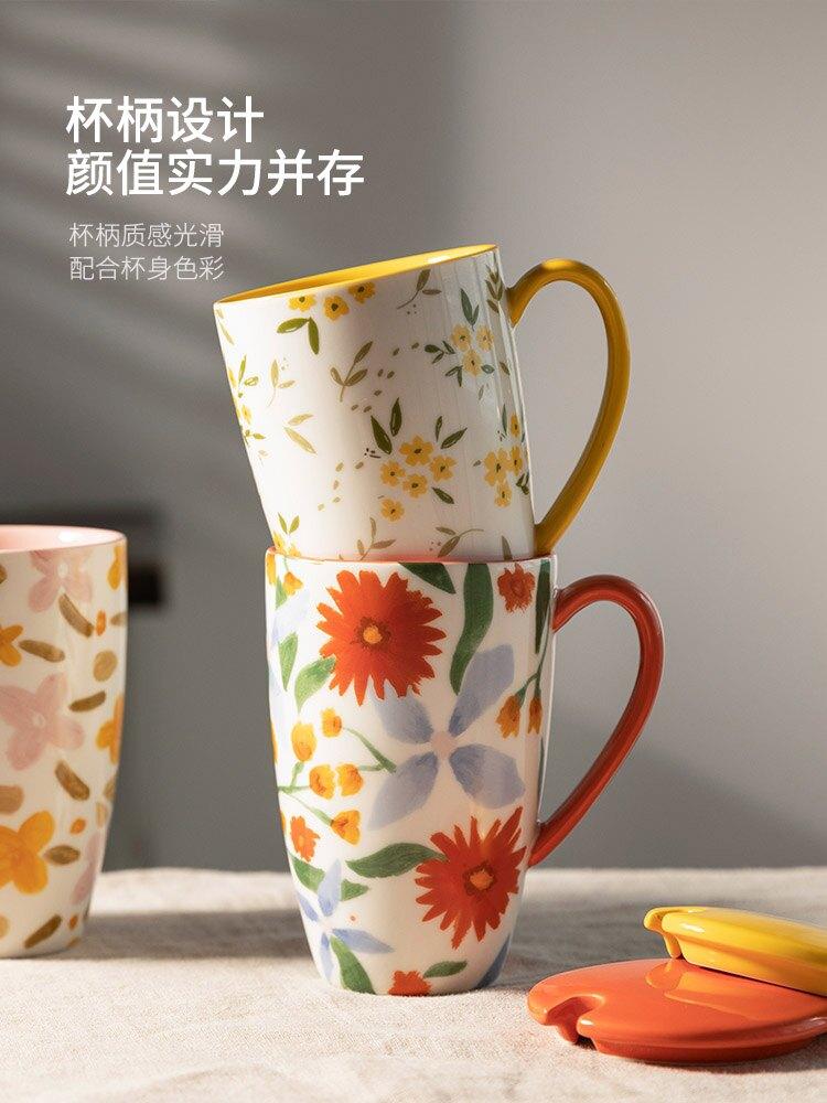 馬克杯 原創咖啡杯大容量陶瓷杯子家用高水杯情侶杯馬克杯帶蓋勺[優品生活館]