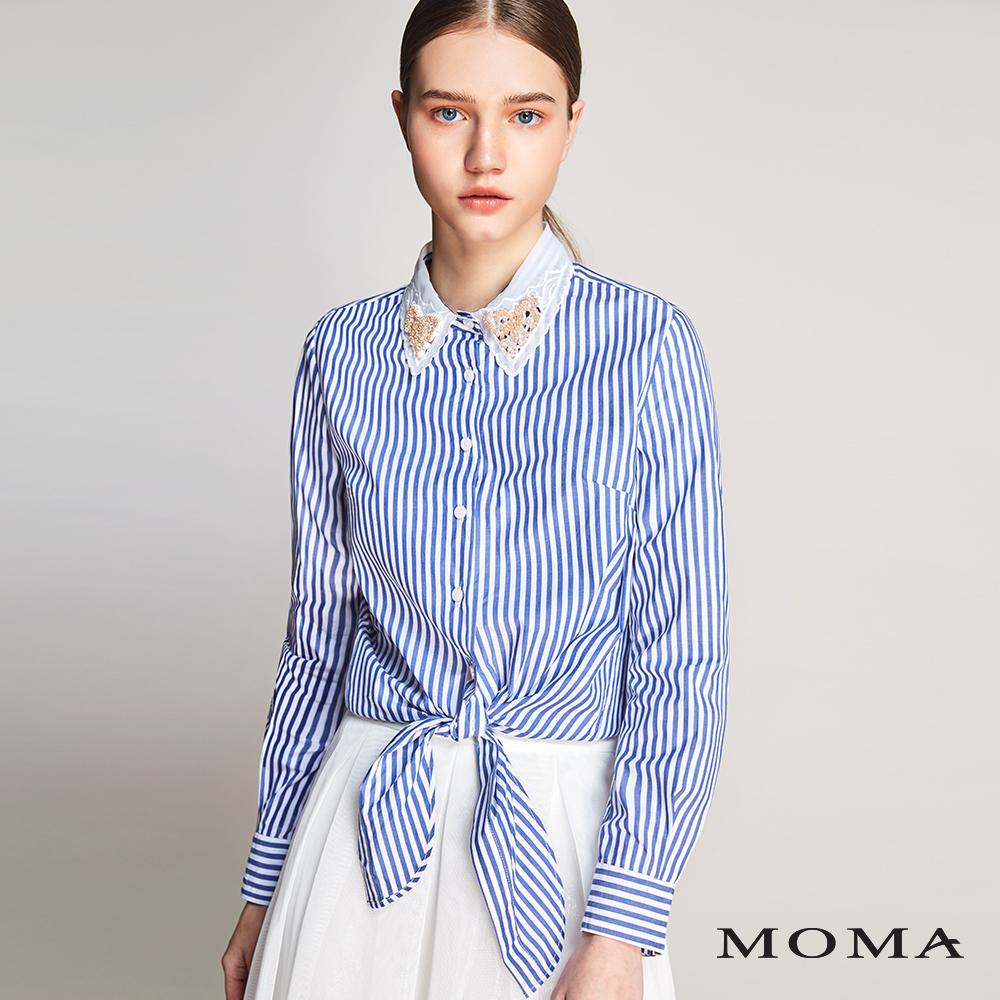 MOMA(01B008)管珠領片條紋襯衫
