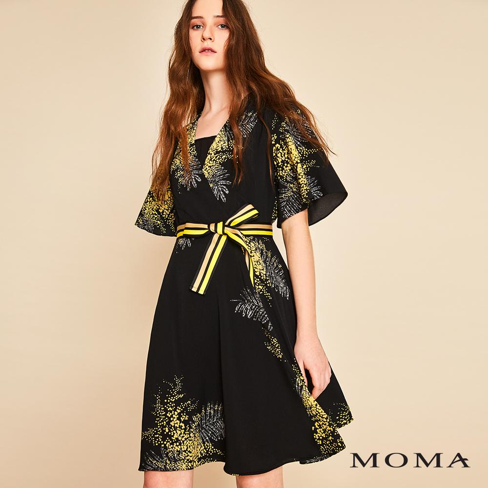 MOMA(01D007)印花波浪袖短洋裝