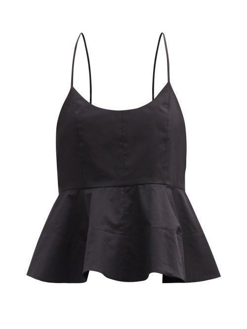 Tibi - Peplum-hem Organic Cotton-poplin Top - Womens - Black
