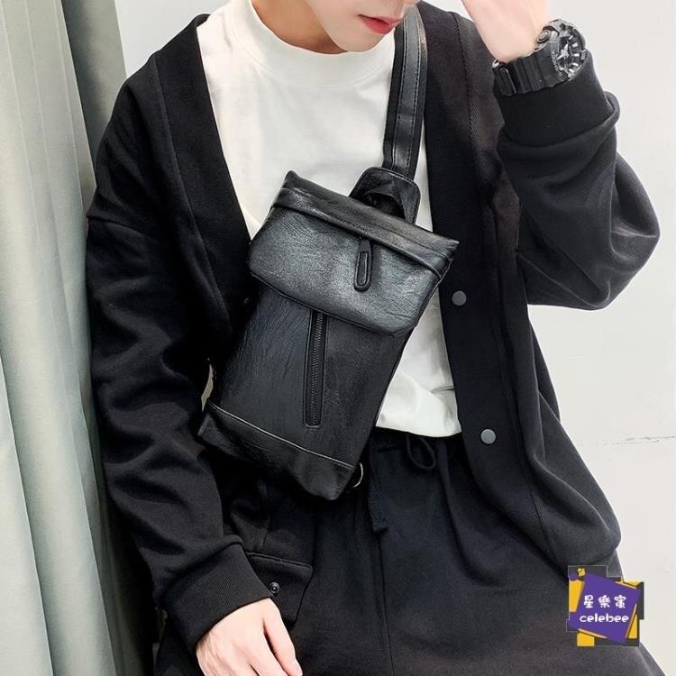 後背包 簡約男士小包新款皮質單肩包時尚街頭ipad斜背包戶外後背包潮 外出必備【年終尾牙 交換禮物】