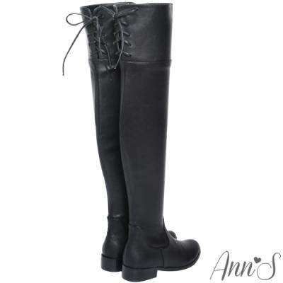 Ann'S貼腿版-小個子救星兩穿馬甲過膝靴-羊紋黑