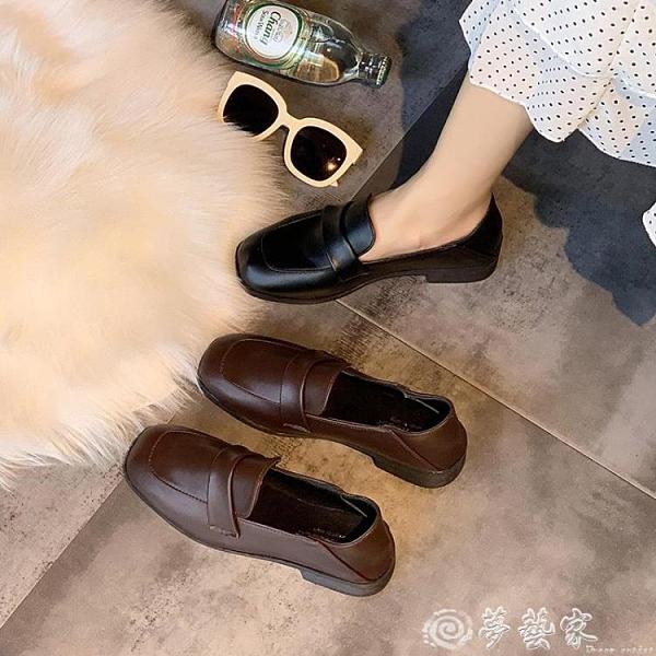 牛津鞋 網紅單鞋女2021春季新款英倫風百搭復古小皮鞋女學生方頭樂福女鞋 夢藝