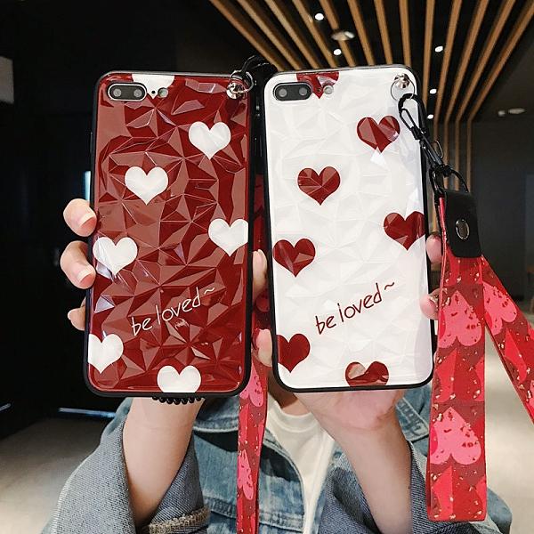 新品特價 愛心鉆石紋蘋果X手機殼iPhone6S個性6潮8軟7plus斜跨XS防摔XR套女