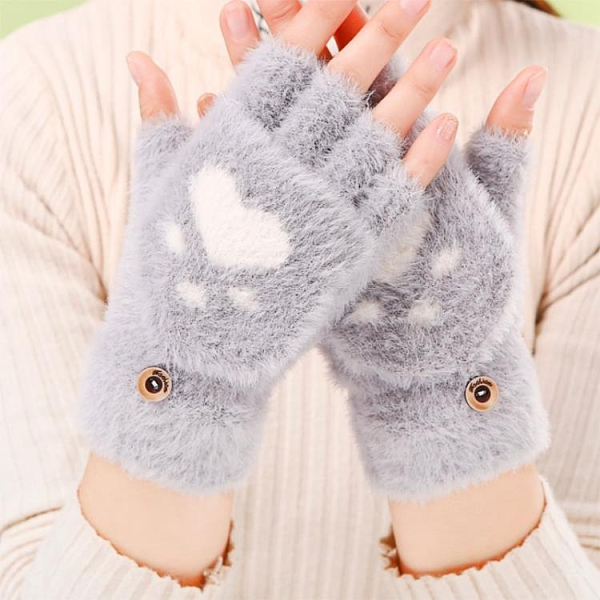 貓爪手套女冬天保暖加絨加厚學生潮寫字騎行可愛針織半指翻蓋手套 【雙十二狂歡】