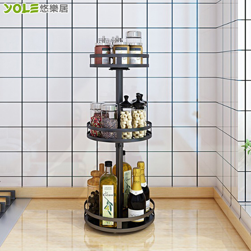 yole悠樂居廚房烤漆不鏽鋼旋轉調味瓶罐架-三層圓形#1132099