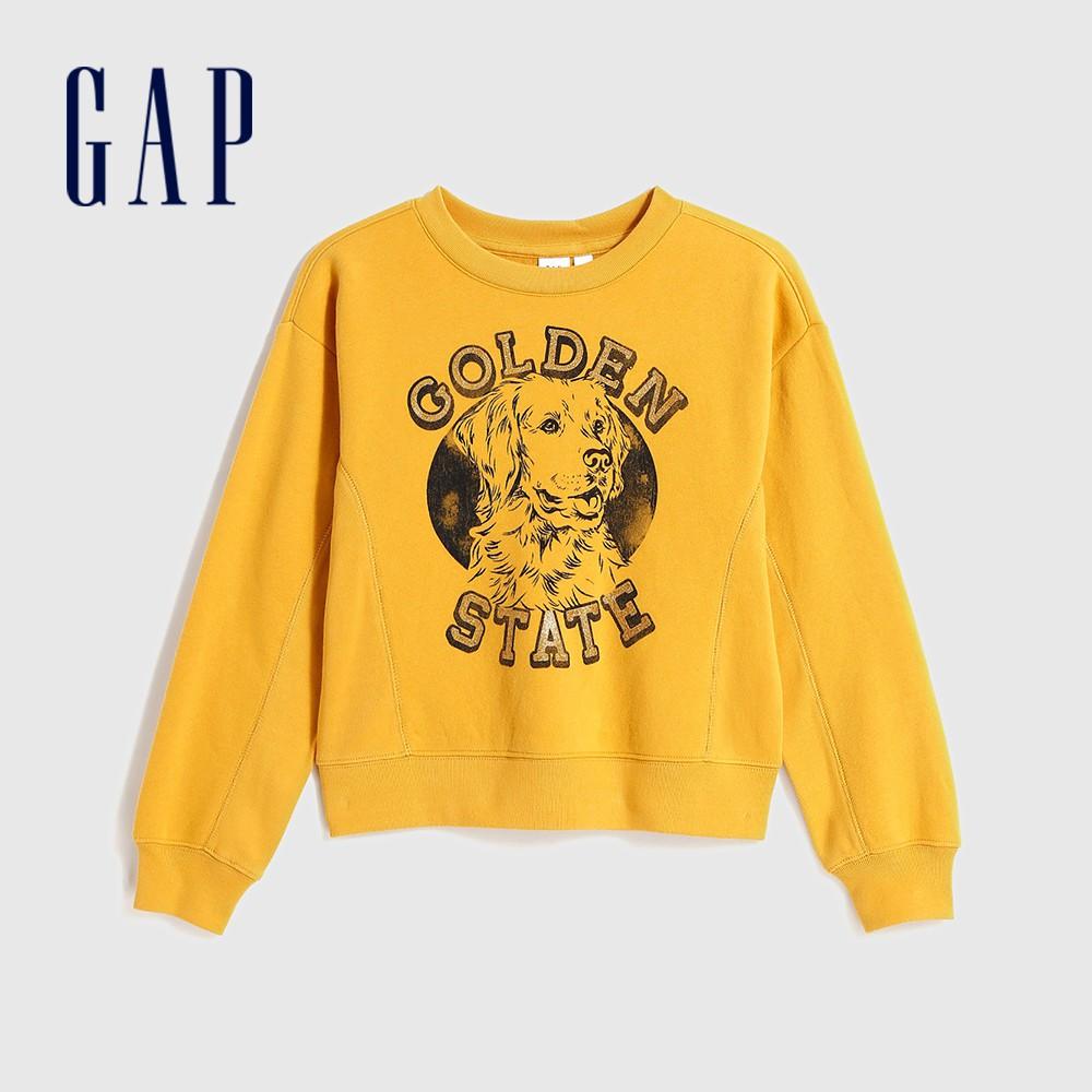 Gap 女童 活力亮色趣味圖案休閒上衣 625110-金黃色