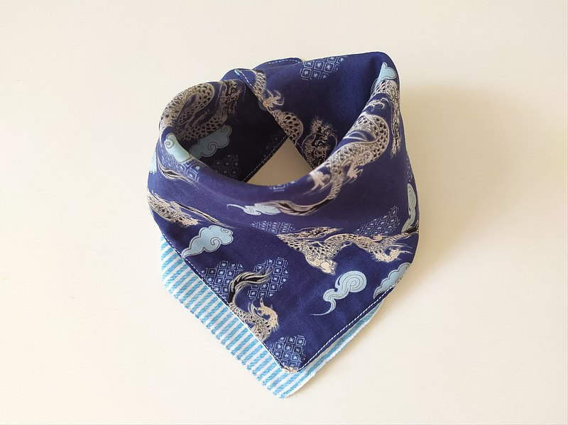 多用途方巾 龍 藍線條 三角圍兜 三角領巾 寶寶領巾 圍兜 口水巾