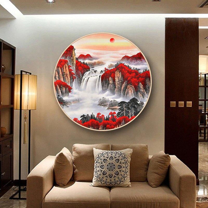 鑽石畫 鉆石畫2020新款客廳滿鉆鴻運當頭十字繡圓形山水風景水晶點磚貼畫『CM397941』