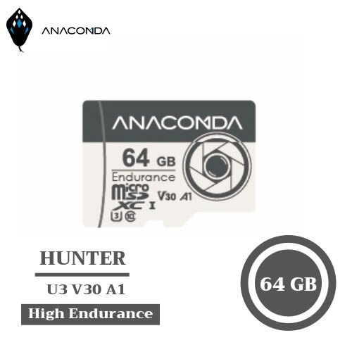 ANACOMDA巨蟒Hunter MicroSDXC UHS-I U3 V30 A1 64GB 高效能行車監控記憶卡
