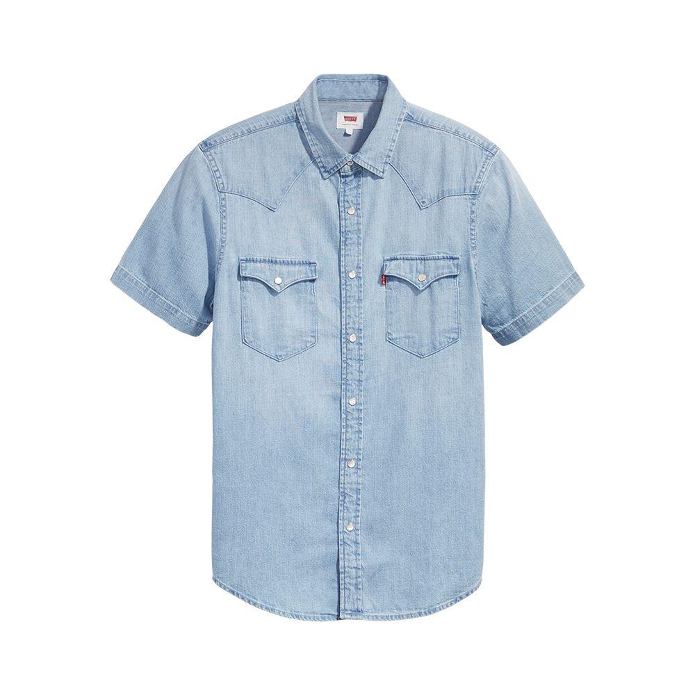 Levis 男款 短袖牛仔襯衫 / 休閒版型 / 淺藍水洗 / 經典雙口袋-熱銷單品