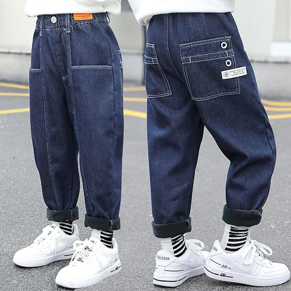 男童牛仔褲兒童加絨褲子2021冬裝新款中大童加厚一體絨外穿長褲潮 百分百