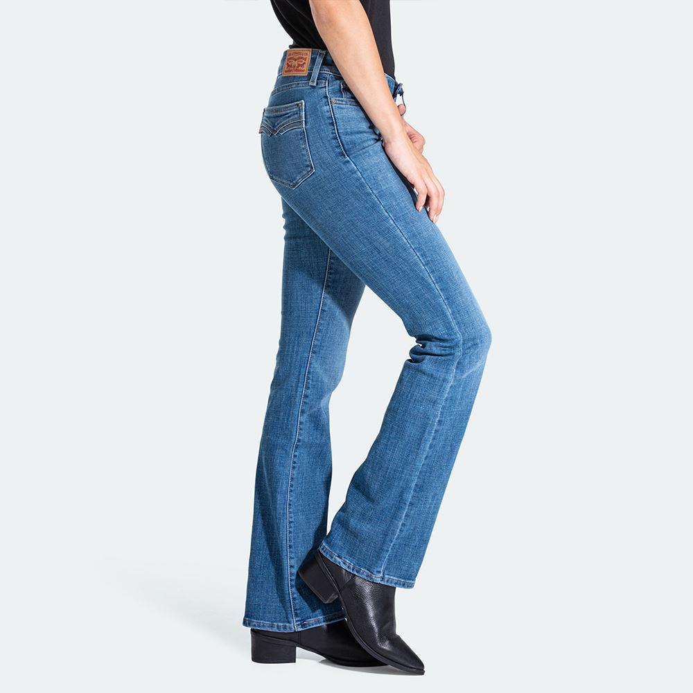 Levis 女款 715 中腰合身靴型牛仔褲 / 中藍刷白 / 彈性布料-熱銷單品