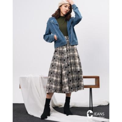 CANTWO JEANS不規則拼接造型長裙-米黑格色