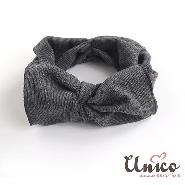 UNICO 韓國同步流行超大蝴蝶結針織髮帶-灰色