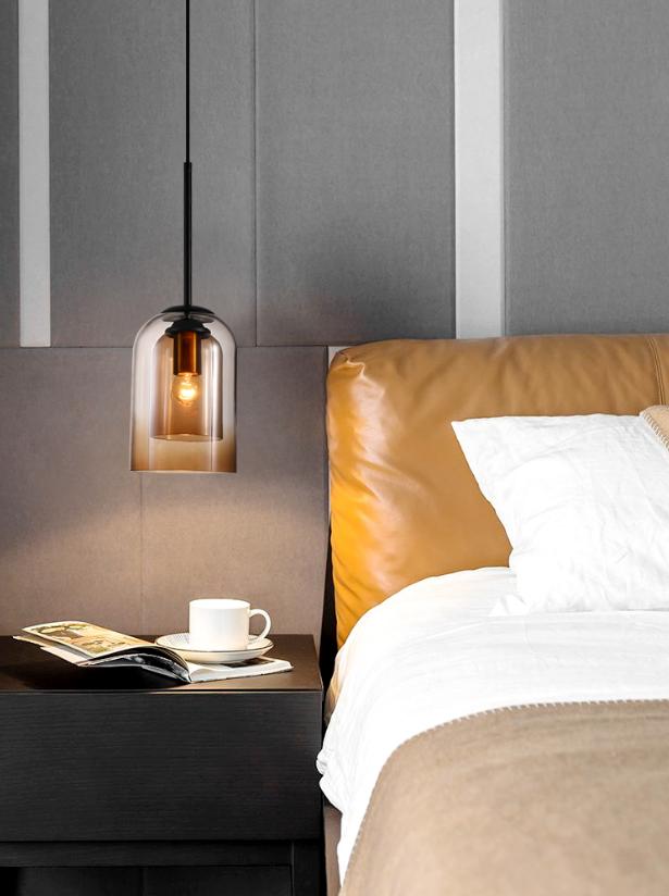三色變光 燈 燈具 北歐吊燈 臥室燈 床頭吊燈 現代簡約風設計師創意餐廳吧臺燈玻璃單頭小吊燈