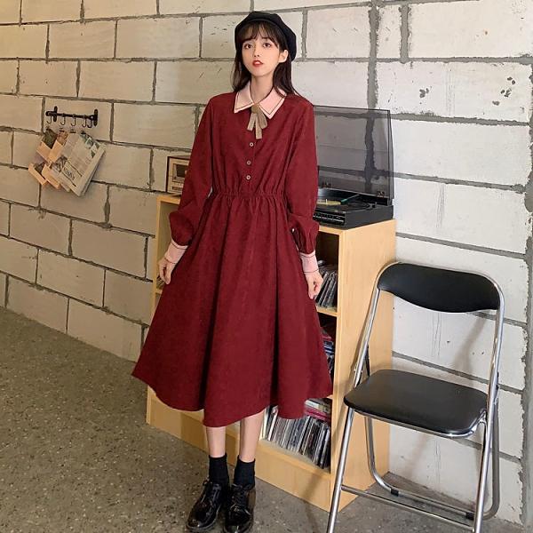 促銷九五折 大碼女裝秋季新款中長款紅色連衣裙胖妹妹藏肉顯瘦連衣裙女裙【預售 5天內發貨】