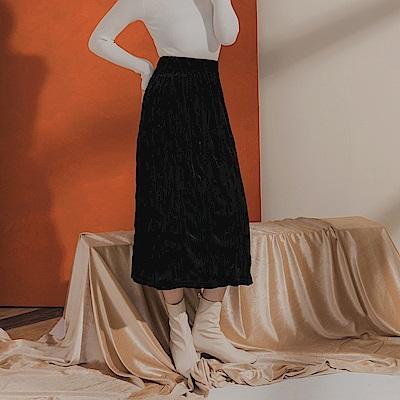 質感絲絨光澤皺皺壓褶設計下襬開衩中長裙-OB嚴選