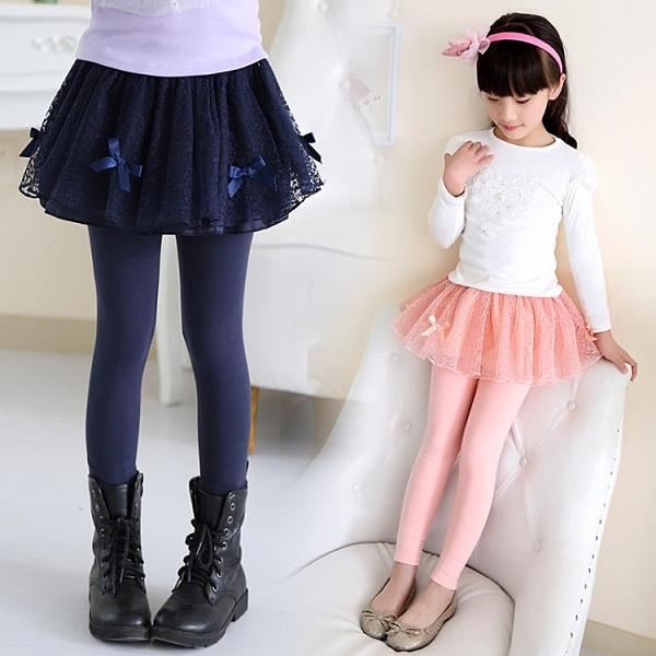 女童打底褲裙褲兒童秋裝外穿假兩件加絨紗裙12歲褲子大童秋冬褲裙 百分百