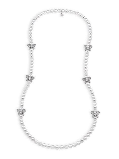 Sterling Silver, Faux Pearl & Cubic Zironcia Butterfly Necklace